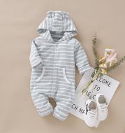 Blue cotton stripe jumpsuit