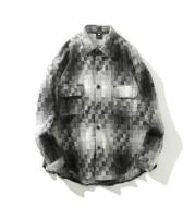 Black and White Grey Plaid Long Sleeve Shirt