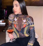 Mesh see-through printed long sleeve bodysuit