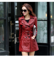 Slim-fit PU leather trench coatrench
