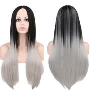 Wig 68cm long ladies straight hair black gray gradient color synthetic high temperature silk wig