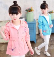 Girls windbreaker jacket autumn and winter Korean version of the long-sleeved peach embroidery hooded big children's shirt children's new children's clothing