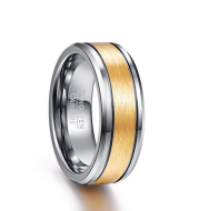 Men's 8mm Gold Color Brushed Center Two Grooves Tungsten Carbide Wedding Band Rings Beveled Edge