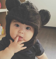 Autumn and winter new children's hat Cartoon bear ears fleece baby warm hooded bib hat