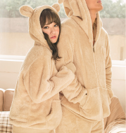 Coral velvet couple cartoon long-sleeved pajamas for men and women autumn and winter flannel warm home service
