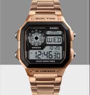 Business steel belt electronic watch double display multi-function sports waterproof watch
