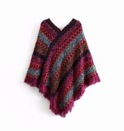 Knitted fringed shawl coat