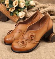 Ethnic style single shoes leather thick with round head women's shoes retro shallow shoes