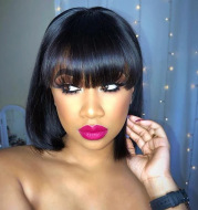 Bang Wig Human Hair Straight Pre Plucked Lace Frontal Wig