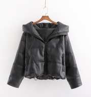 PU Leather Parkas Hooded Faux Leather Coats