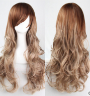 Long curly hair cos wig female middle bangs fluffy temperament female wig