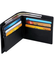 Short leather wallet with loose leaf anti magnetic wallet