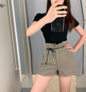 new classic Houndstooth waisted skinny wide leg pants