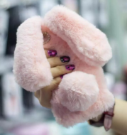 Fluffy Bunny Rabbit Fur Silicone Phone Cases For IPhone X 8 7 6S Plus S8 Plus