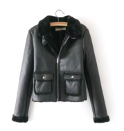 Women's leather short paragraph 2021 European and American women's fur one women's leather jacket coat plush thick pu leather