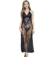Sexy lace side slit long-sleeved nightdress