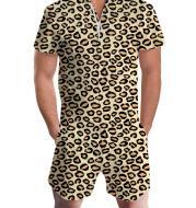 Summer short-sleeve jumpsuit Hawaiian Leopard