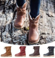 Lace-up rounded velvet snow boots