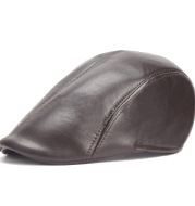 Vintage Pu Leather Solid Beret Cap