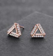Diamond Triangle Simple Earrings