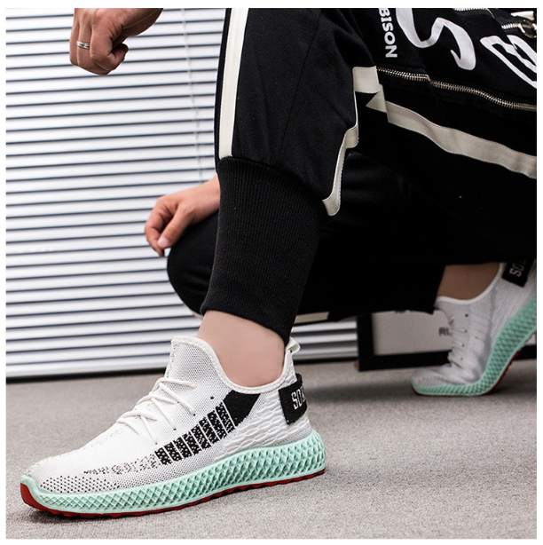226137136858 Flying woven breathable casual color sports shoes