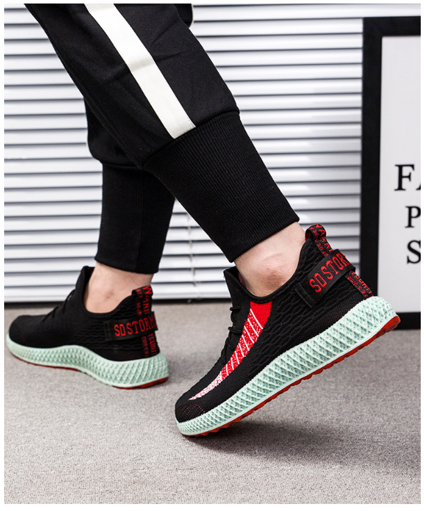 762164449250 Flying woven breathable casual color sports shoes