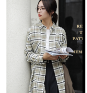 Old fashion big plaid long-sleeved shirt female autumn long loose loose wild look at time