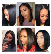 Black bob head European and American wig Short straight hair front lace chemical fiber wig High-grade lace