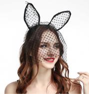 Small dot veil lace cat ears headband sex accessories