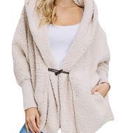 Pocket anti-fur plush warm hooded jacket female
