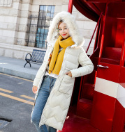 Reversible cotton-padded jacket with hooded big fur collar