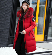 Long cotton jacket hooded big fur collar down jacket