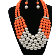 Multi Simulated Pearl Bohemian Jewelry Set