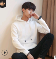 2020 autumn and winter sweater men's new hooded hooded student men's solid color men's clothes