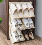 Simple plastic shoe rack home can be stacked multi-layer shoe support dormitory space door small shoe rack