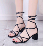 2021 new women's word belt sandals with straps Roman shoes thick with lace high heel sandals