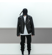 Profile hip hop loose high street OVERSIZE couple quilted motorcycle leather clothing