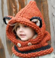 Children's wool knit hat hand-knitted warm earmuffs cape caps for men and women