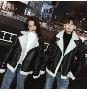 Winter jacket plus velvet thickening couple suede lapel lamb fur hair male and female motorcycle leather jacket