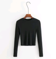 Slim Fit Turtleneck Short Long Sleeve T-Shirt Women's Long Sleeve Sweater