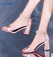 2021 summer new word with sandals buckle buckle high heel flower foot ring strap quality shoes