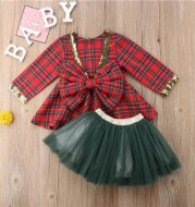 Mesh big bow girl plaid cute princess dress