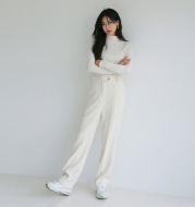 White commuter straight casual loose high waist suit trousers