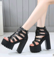 Rough with the new 2021 summer women's shoes 14cm Roman catwalk thick-soled nightclub super high-heeled T stage show sandals