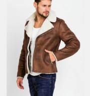 Faux Fur Collar Faux Leather Jacket