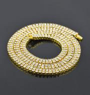 Alloy Diamond 2 Row Hip Hop Necklace