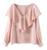 V-neck stacked solid color slim shirt