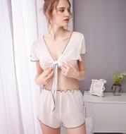 Open-neck short-sleeved underwear pajamas