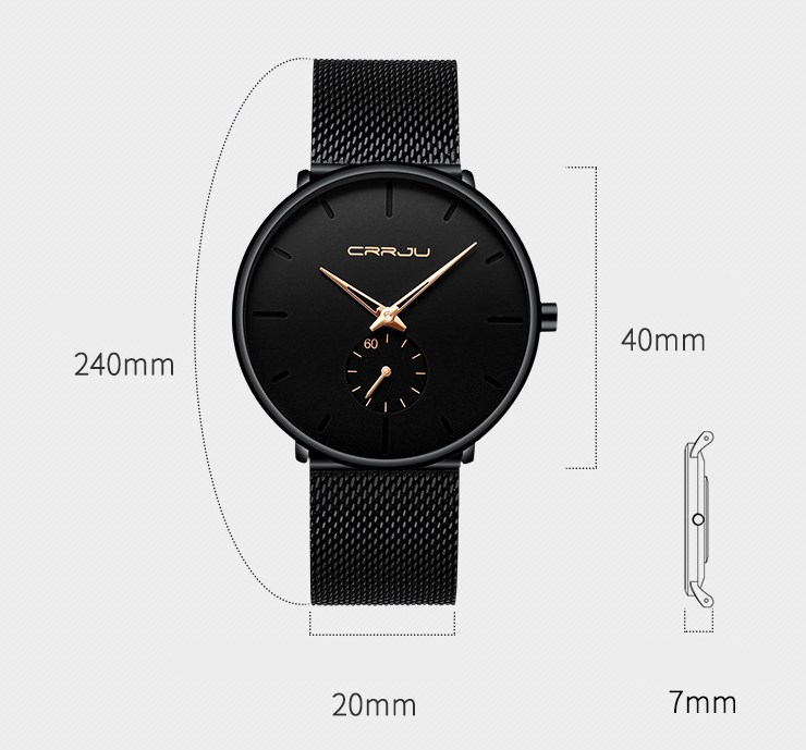 889964143497 Simple ultra-thin watch round mesh belt watch