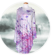 100% Cashmere White Scarf Printed with Custom Design